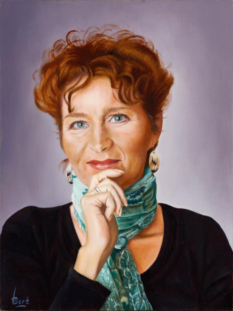 Portret van Carla geschilderd door mijn lief Bert de Vries.